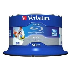 Verbatim BD-R SL, Hard Coat protective layer Wide Inkjet Printable, 25GB, Spindle, 43812, 6x, 50-pack, pre archiváciu dát